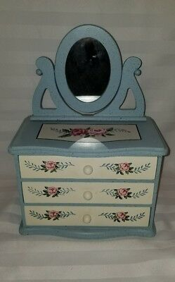 Vintage Childs Painted Wooden Doll 3 Drawer Dresser With Mirror/photo Frame