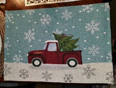 Vintage Red Truck Christmas Placemats.New Set 4 Holiday Red Christmas Truck Placemats Vintage Style Rustic Farmhouse