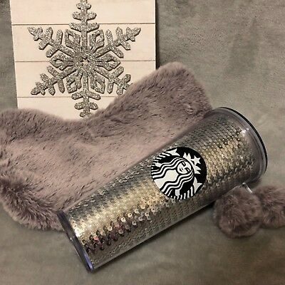Starbucks Sequin Tumbler Silver + Matching Fuzzy Stocking Holiday Gift Set 24oz.