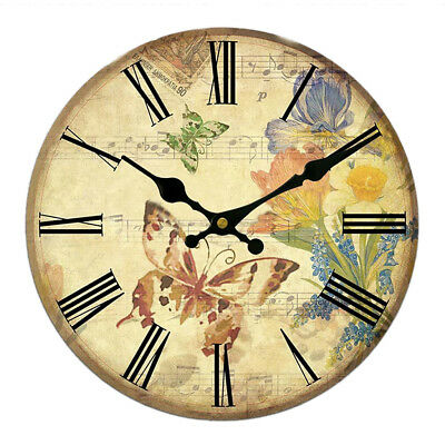 Large Vintage Wooden Wall Clock Shabby Chic Kitchen Home Antique Style #11