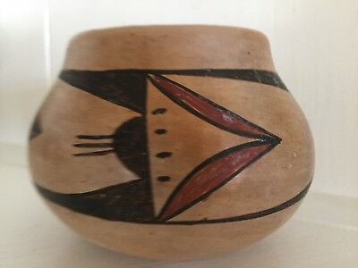 """Collectible Rare Vintage Signed Nettie Ami Hopi Tewa Polychrome Bowl, 4""""x 3"""""""
