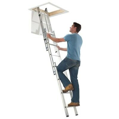 Aluminium Loft Ladder 3 Section Comfort D-Shaped Rungs Stowing Pole Work Folding