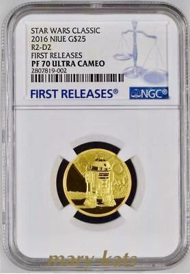 Niue 2016 Star Wars Classic Gold R2-D2 G$25 Ngc Pf70 Uc First Releases + Ogp