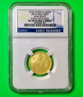 2016 Niue Gold Star Wars Classic Han Solo G$25 Ngc Pf70 Uc Early Releases + Ogp
