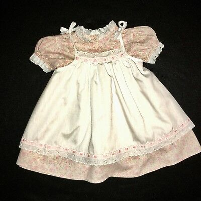 Vintage Her Majesty Pink Dress Size 2T White Pinafore EUC