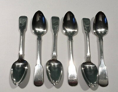 IRISH Georgian Sterling SILVER Set 6 FIDDLE TEASPOONS Samuel Neville 1820 Dublin