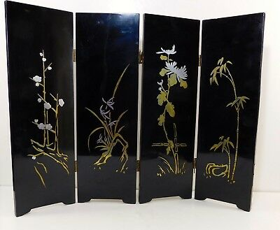 "Vintage Korean Tabletop Lacquer 4 Panel Screen Divider ""The Four Gracious Plants"