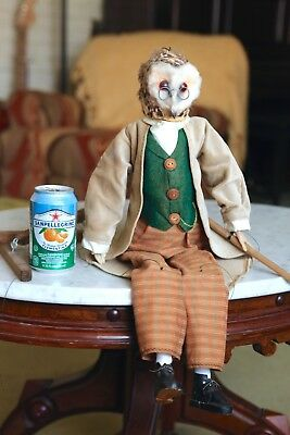 OWL Old Wise Owl Marionette (puppet) EXTREME Detail! ANTIQUE! Very, VERY NICE!