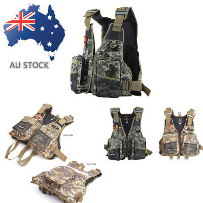Men Outdoor Fly Fishing Vest Boat Hunting Sail Surf Hunting Jacket with Whistle