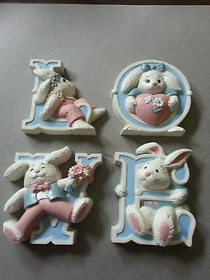 LOVE Bunnies wall Plaques, plastic, ADORABLE!  Burwood Products #3280