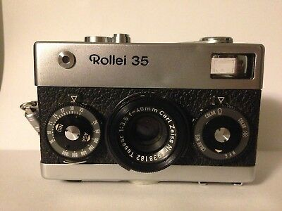 VINTAGE ROLLEI 35 35mm CAMERA MADE IN GERMANY-40mm Carl Zeiss Tessar f/3.5 Lens