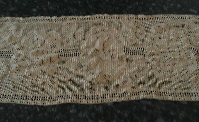 Coffee Coloured Hand Crochet Mat/runner 31 X 82Cm. Vic.