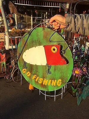Vintage Cabin 3D Round Go Fishing Sign W/ Fish Lure Man Cave Decor 24in