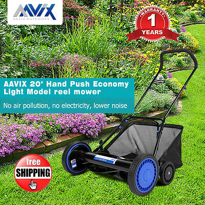 "AAVIX 20"" Hand Push Reel Mower Self-sharpening Blade 9 Position Height Lawnmower"