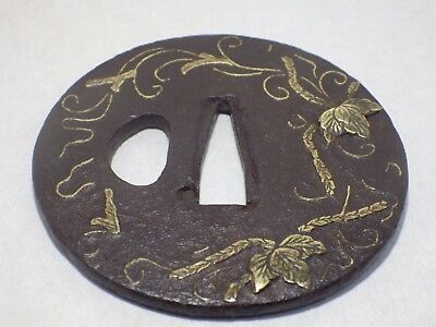 Japanese Sword Iron Guard TSUBA Paulownia Leaf design Brass Inlay