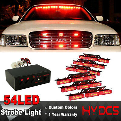 54 LED Car Vehicle Emergency Warning Police Fire Fighters Strobe Lights Bar Red