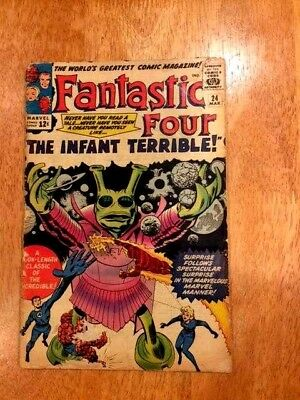 """FANTASTIC FOUR #24 (Mar 1964 Marvel) """"The Infant Terrible!"""" Early Silver Age!"""