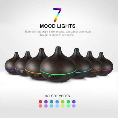 150ML Aromatherapy Diffuser Ultrasonic Essential Wood Grain Waterless 7Color LED