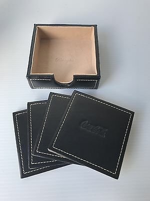 4 Square Leather Coca Cola Dark Brown Coasters with Holder by Barrington