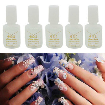 5PCS 10g Nail Art Glue With Brush On-Strong Adhesive Fake Acrylic False Tips New