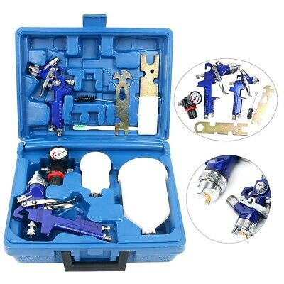 1.4&0.8mm  HVLP Gravity Feed Professional Car Paint Spray Gun 600&250ml Cup SET