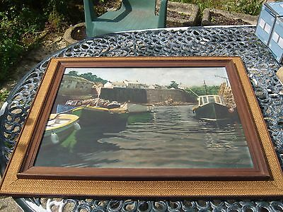 Vintage Framed Oil on Board of Polperro Harbour with Fowey Boat Cornwall