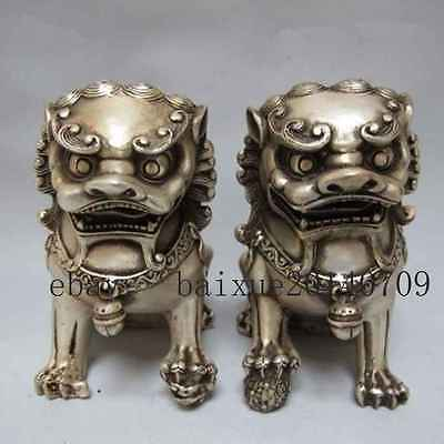 Rare Old Chinese Tibet silver carved guard Foo Dogs Lion pair statues