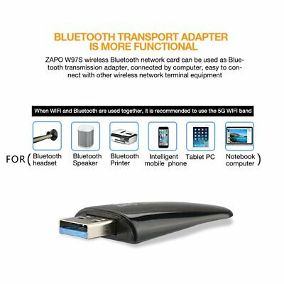ZAPO 1200M WIFI Dual Band Metal USB AC Wireless Network Adapter Bluetooth4.1 BU