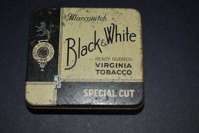 Vintage Collectable Marcovitch Black & White 1 Oz Special Cut Tobacco Tin