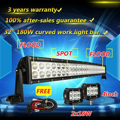 """32inch Curved LED Light Bar Combo + 4inch Cree Work Off road Truck Jeep SUV 30"""""""
