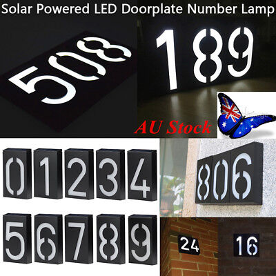 AU Outdoor Solar Power LED Doorplate Mailbox Number 0-9 Light House Address Lamp