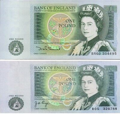 British English ONE POUND BANK NOTES - Select Note and Cashier (Somerset / Page)