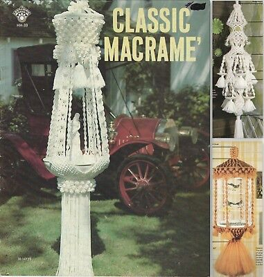 Vintage 1978 Macrame Classic Pattern Book - 9 Projects Including Fountain