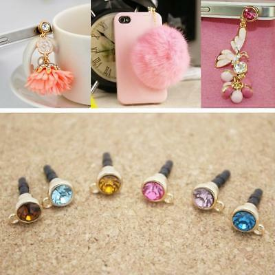 Anti Dustproof Smart Phone Plugs 10Pcs Crystal Diamond 3.5Mm Earphone Jack