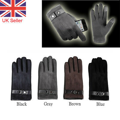 Mens Warm Winter Gloves Full Finger Touch Screen Fashion 4 Colors
