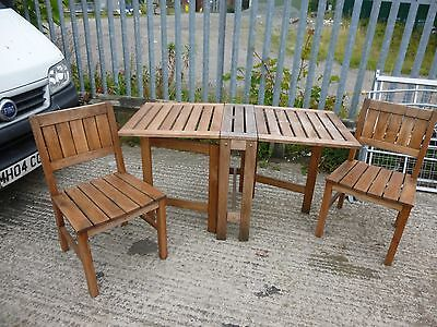 Solid teak garden and patio furniture - Folding table, two chairs