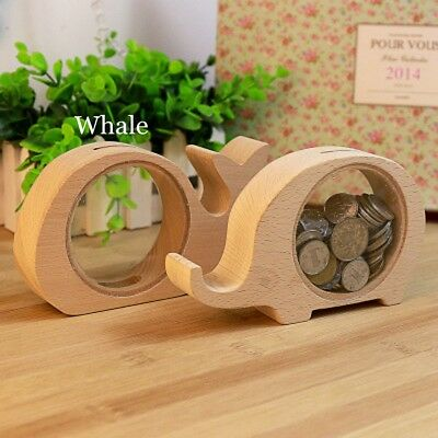 Creative Handcrafted Wooden Piggy Bank Saving Money Coin Box for Kids Tool Gift