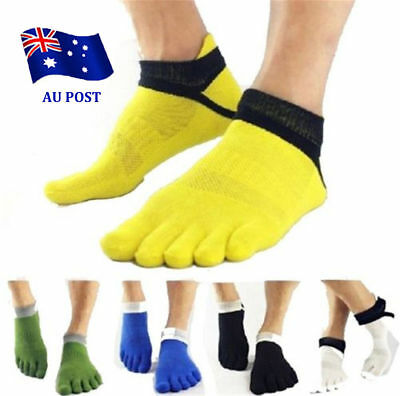 Men's Five Finger Toe Separate Socks Cotton Grid Breathable Yoga/Sport Socks BK