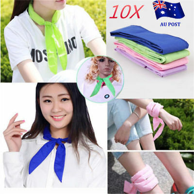 10x Handy Neck Cooler Non-toxic Personal Scarf Body Ice Cool Cooling Wrap BK