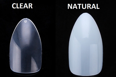 Short Full False Nails clear natural stiletto almond * 100 or 500 * nail