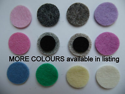 small FELT EYES or circles 100% WOOL toy quality MANY COLOURS or white and black