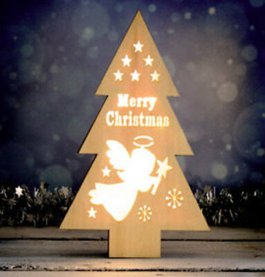 Wooden Decorative Christmas Tree with 8 LED Lights
