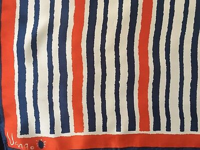 "Vintage Vera Neumann Abstract Striped Red White Blue Scarf 26"" Square"