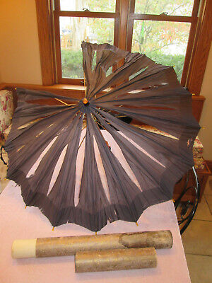 Antique Black Silk  Umbrella Bakelite Handle with original tube box lot S
