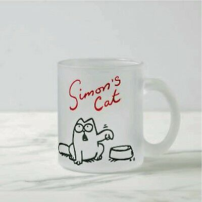 Simons Cat Frosted Glass Mug Design Rounded Hungry Simon Cup Funny Coffee