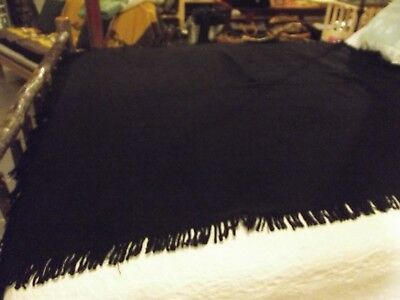 """Amish Hand Made Black Wool Buggy Blanket 59"""" X 53"""" Carriage Sleigh Lap Plain"""