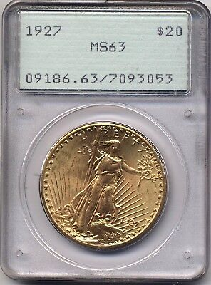 1927 G$20 MS63 PCGS Gold Saint-Gaudens Double Eagle Old OGH Rattler Holder
