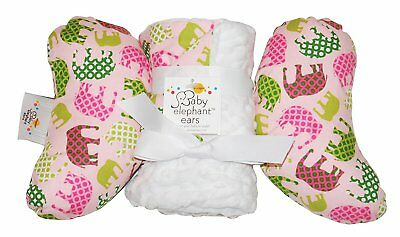 Baby Elephant Ears Head Support Pillow & Matching Blanket Gift Set Pink Elephant