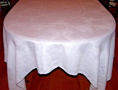"VINTAGE IRISH LINEN DAMASK TABLECLOTH, 102"" BANQUET SIZED, ROSE DESIGN, c1920"