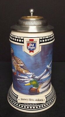 1994 Old Style Snowy River Mallards lidded stein